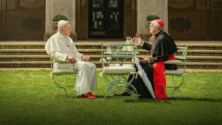 The Two Popes film eleştirisi için kullanılan birinci resim.